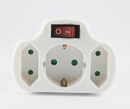 arcas zwischenstecker 3 fach mit schalter kinderschutz wei reppilc. Black Bedroom Furniture Sets. Home Design Ideas
