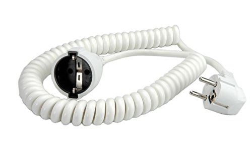 bachmann schuko spiralverl ngerung 1000 4000 mm wei reppilc. Black Bedroom Furniture Sets. Home Design Ideas